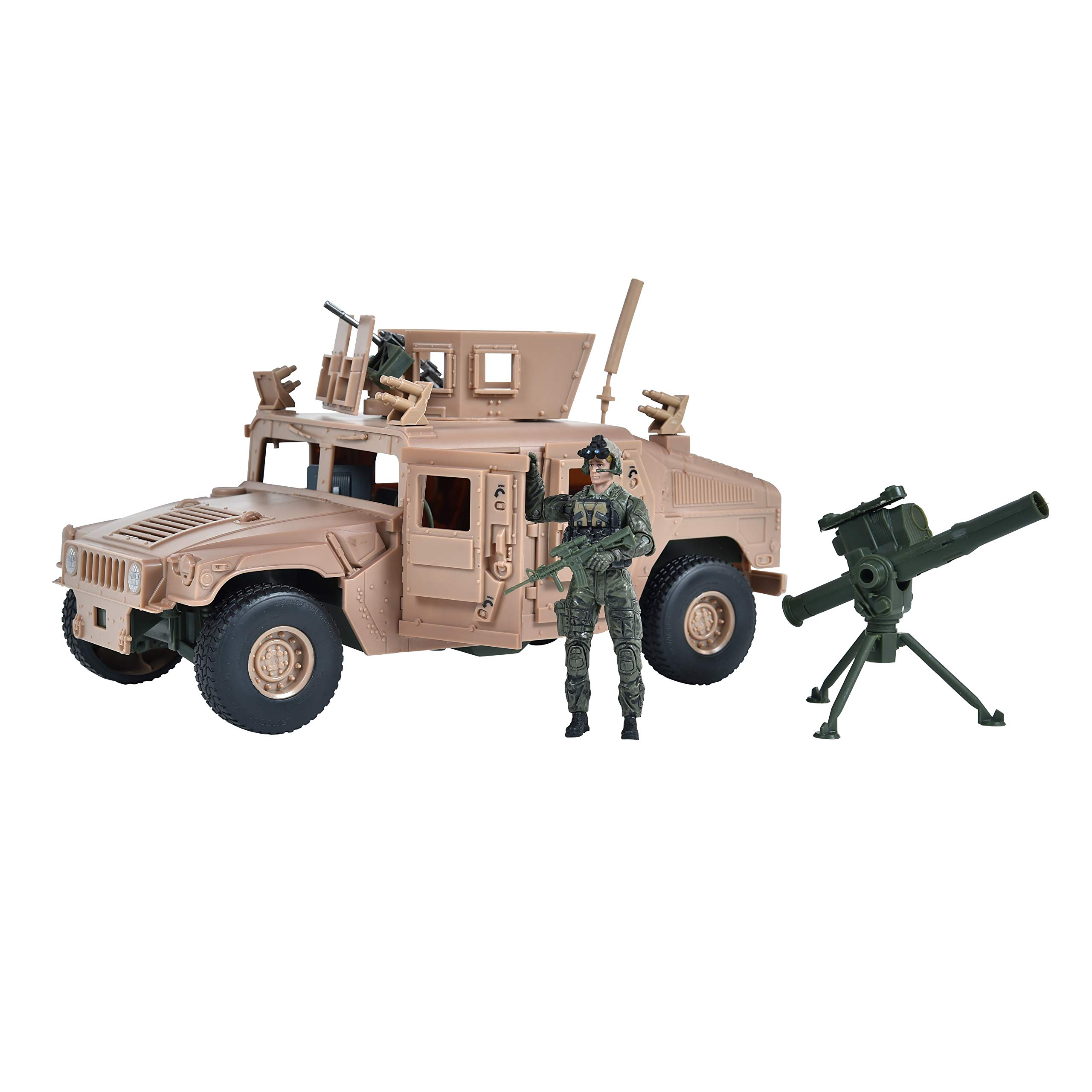 Sunny Days Entertainment Elite Force 1:18 Scale Military M1114 Up-Armored Humvee Vehicle with 14-Point Articulatoin Action Figure, Rotating Gun Turret and Machine Gun Play Set by Sunny Days Entertainment