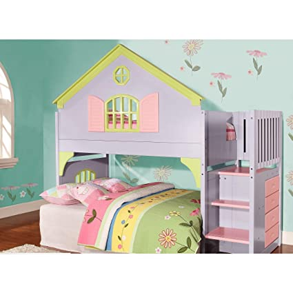 Amazon Com Donco Kids Twin Doll House Loft Bed With Staircase Home
