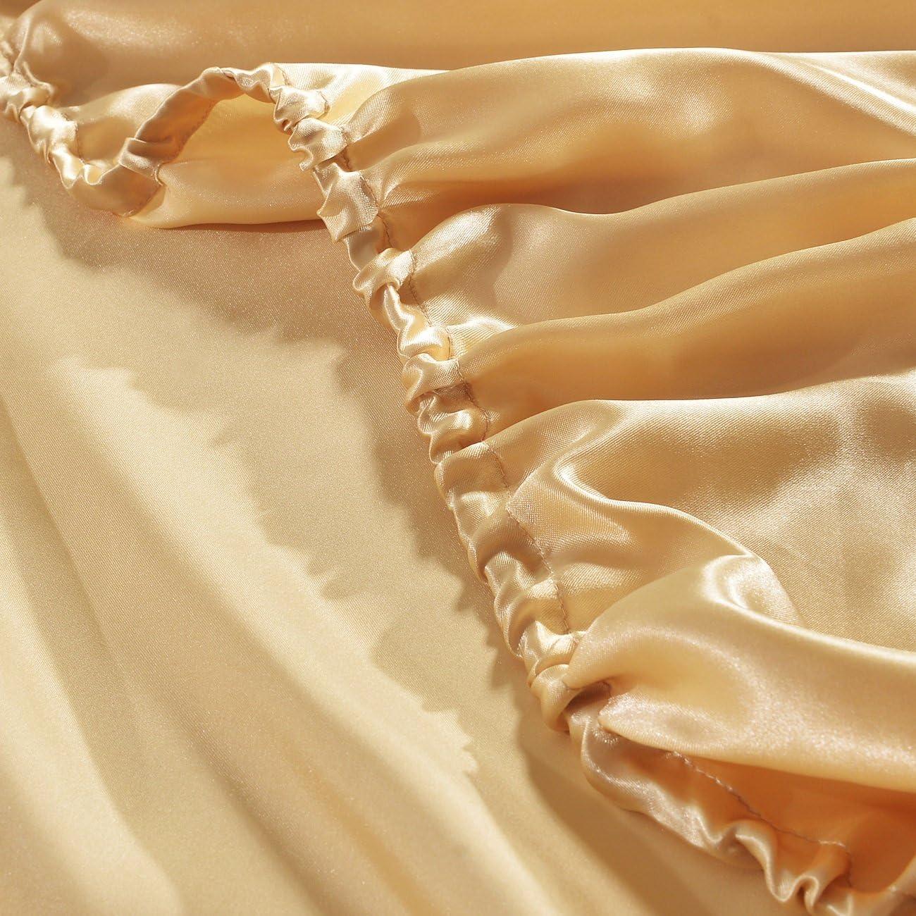HYSENM Coprimaterasso lenzuolo raso Tinta Unita Con Elastico liscia diverse misure Satin 140 x 190 cm Beige