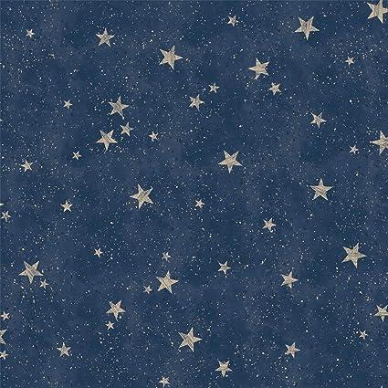 Starlight Stars Navy Blue Wallpaper Silver Gold Metallic Shimmer Childrens