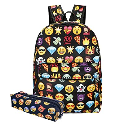 well-wreapped MRstriver Canvas Unisex Emoji School/Hiking/Travel/Camping/Laptop Backpack/Book Bags/for Kids/Girls/Boys/Teenagers/Women(Free Pencil Bag) (Black) Cool