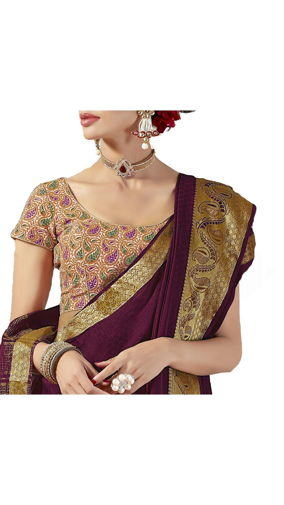 Saris and Things Crepe Silk Purple Mysore Silk Wedding Saree