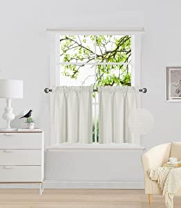 "Elegant Home 2 Panels Tiers Small Window Treatment Curtain Insulated Blackout Drape Short Panel 30"" W X 24"" L Each Kitchen Bathroom Any Small Window # R16 (Ivory)"