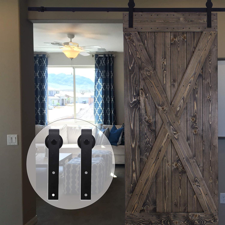 Portes coulissantes Mat/ériel Trousse Unique patin /à roulettes 14.5FT//441cm Sliding Barn Wood Door Hardware Closet Track Kit Single door