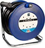 Masterplug HDCC4013/4BL 40 m 4 Socket 13 amp Open Cable Reel with Thermal Cut Out and Reset Button