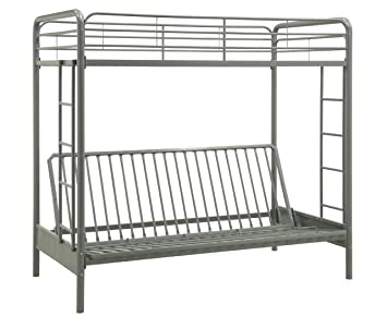 dorel home products twin over full futon bunk bed silver   color  amazon    dorel home products twin over full futon bunk bed      rh   amazon