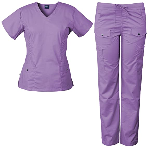 2b2b3fbe436 Amazon.com: Medgear 3-Piece Women's Stretch Medical Scrubs Set and Printed  Top Combo, Snap & Pleat Detail: Clothing