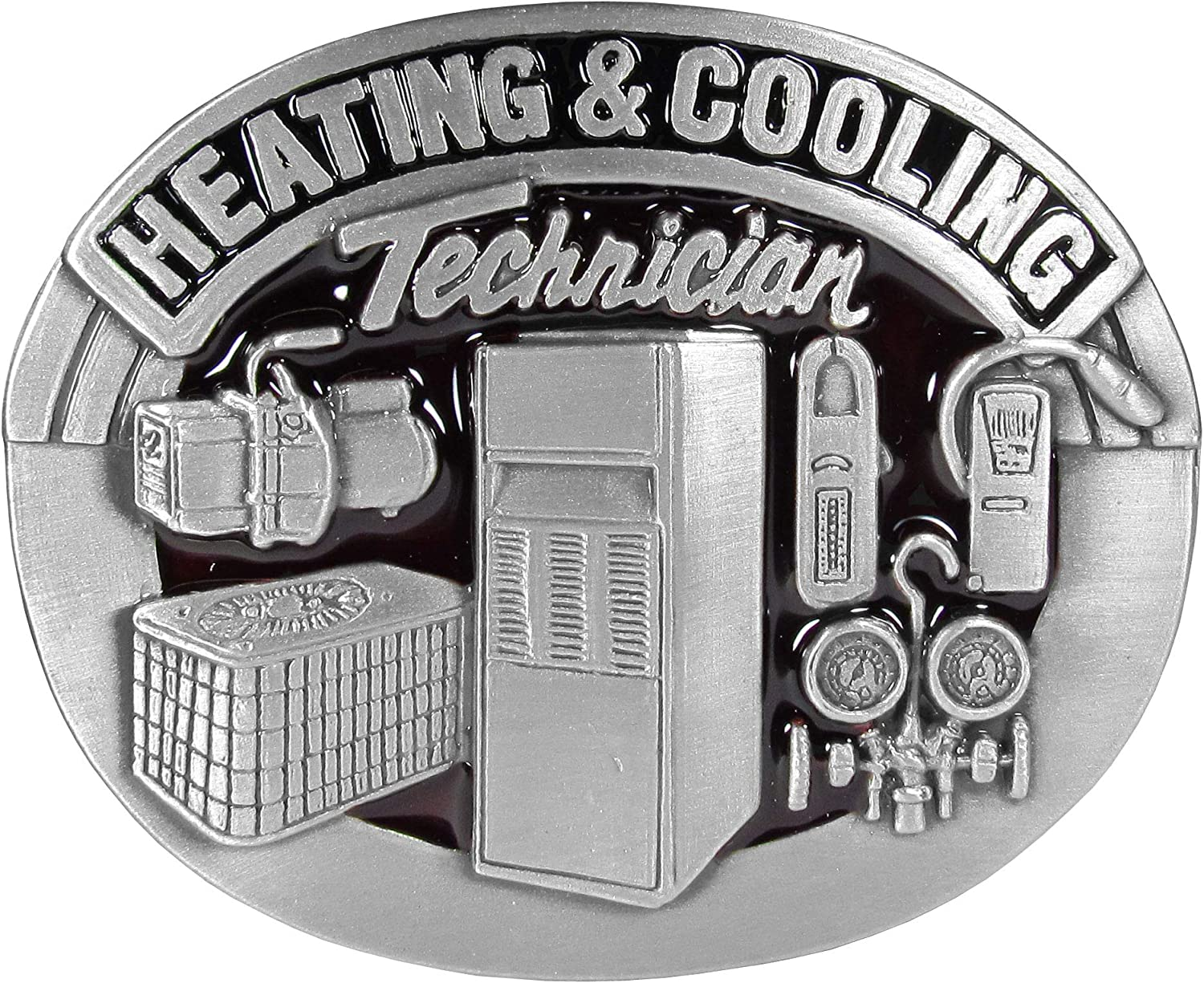 Heating & Cooling Technician Enameled Belt Buckle