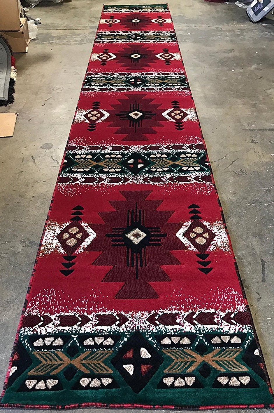Southwest Native American Door Mat Area Rug Red Concord Design #C3418 (2ft.X3ft4in.) C318