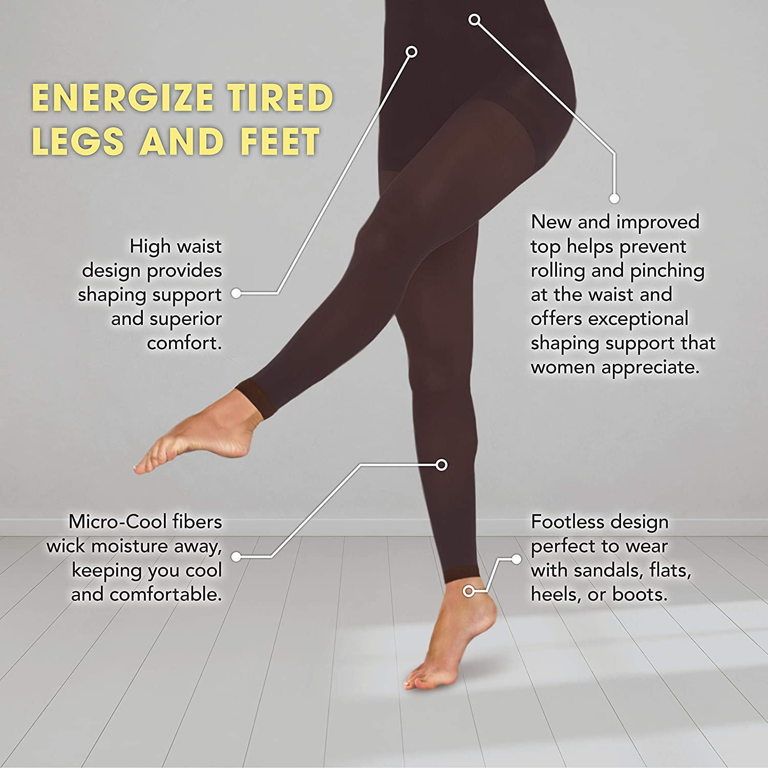 a33546404 TherafirmLIGHT Women s Footless Support Tights - 10-15mmHg Compression  Stockings (Black