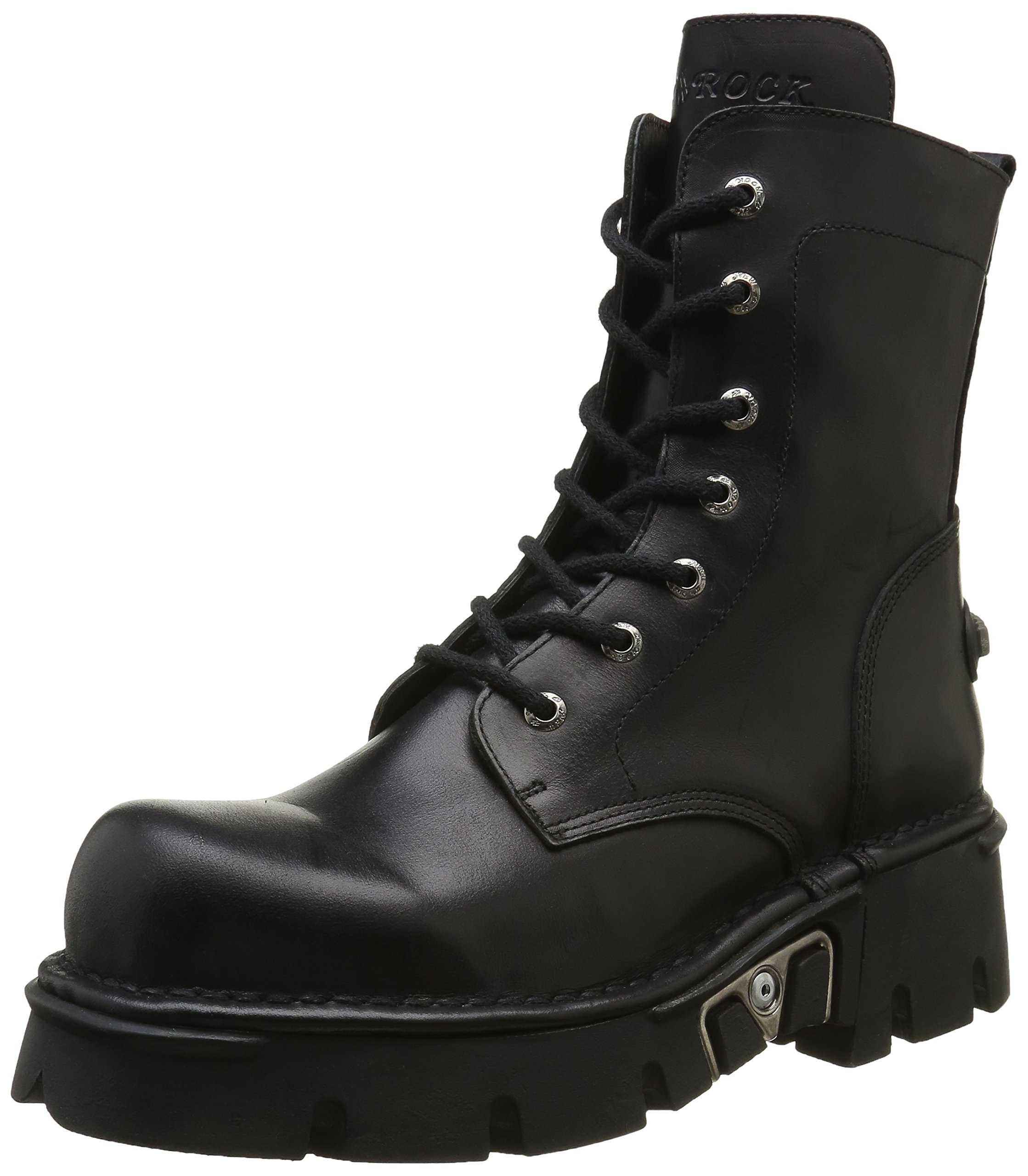 New Rock Shoes Unisex Black Leather Combat Boots With Heavy Soles UK 8.5/Black