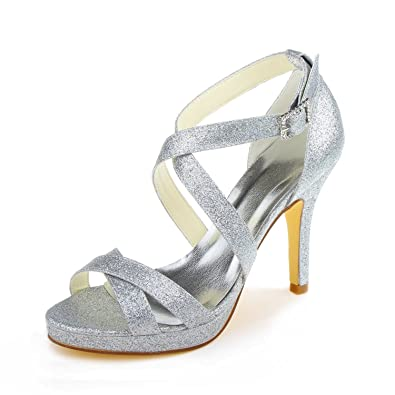 JIA JIA Bridal 37059 Satin Stilettod Heel Open toe Prom Party Dance Wedding shoes Wommen Pumps: Amazon.co.uk: Shoes & Bags