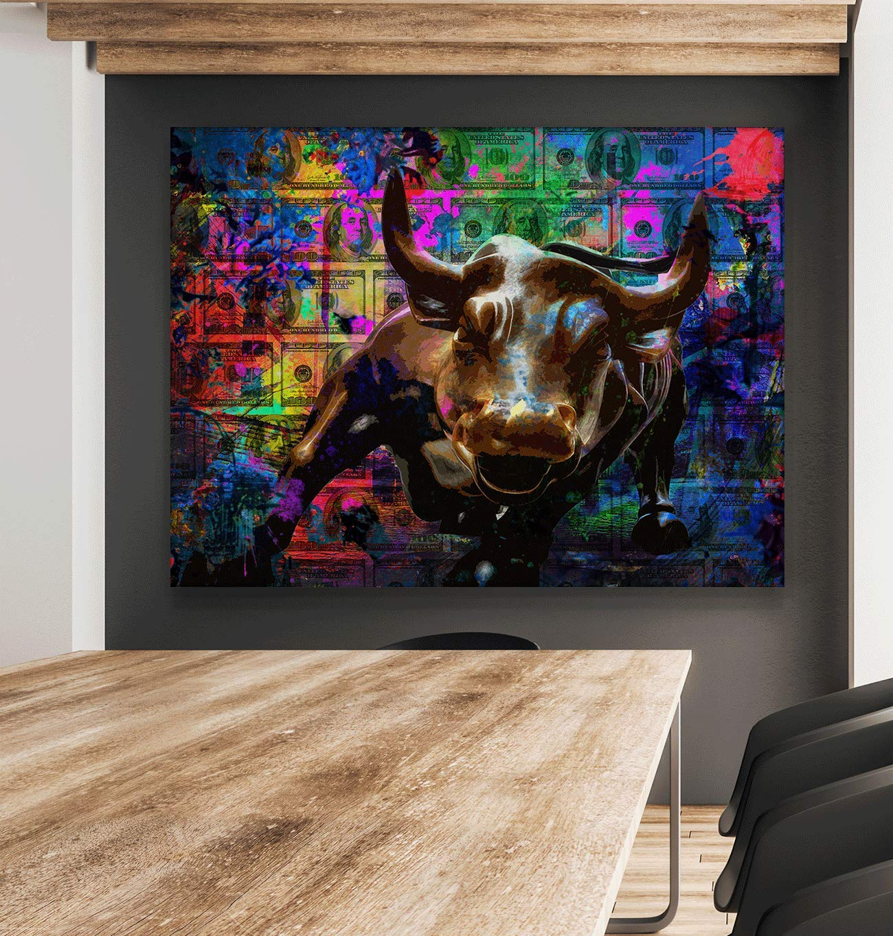 Wall Street Charging Bull Motivational Wall Art Canvas Print, Office Decor, Inspiring Framed Prints, Inspirational Entrepreneur Quotes for Wall Art Decoration 24 x 36