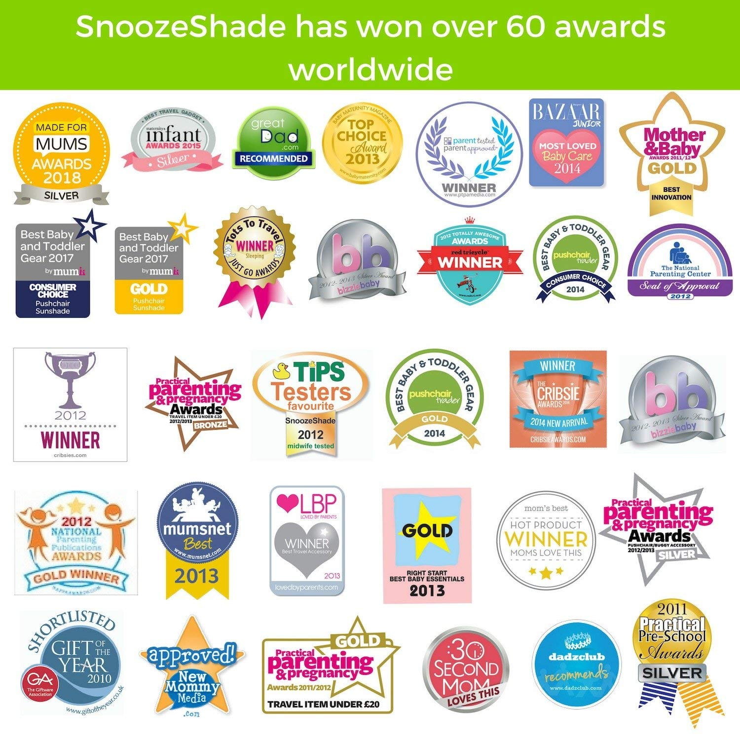 SnoozeShade Plus Deluxe | Universal fit sun shade for strollers | 360-degree sun and UV protection | Sleep shade and mosquito net | Recommended for 6m+ by SnoozeShade (Image #6)