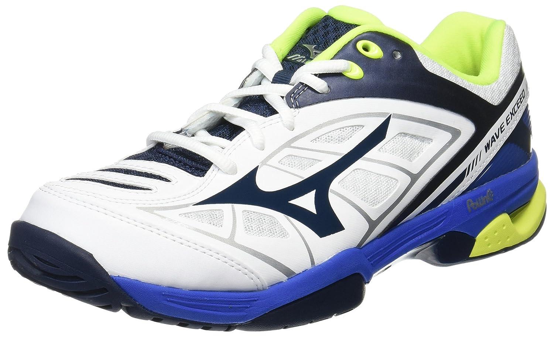 [ミズノ] テニスシューズ ウエーブエクシード スリム OC (旧モデル) B01MRHKQFP 25.5 cm ホワイト/ネイビー/ブルー