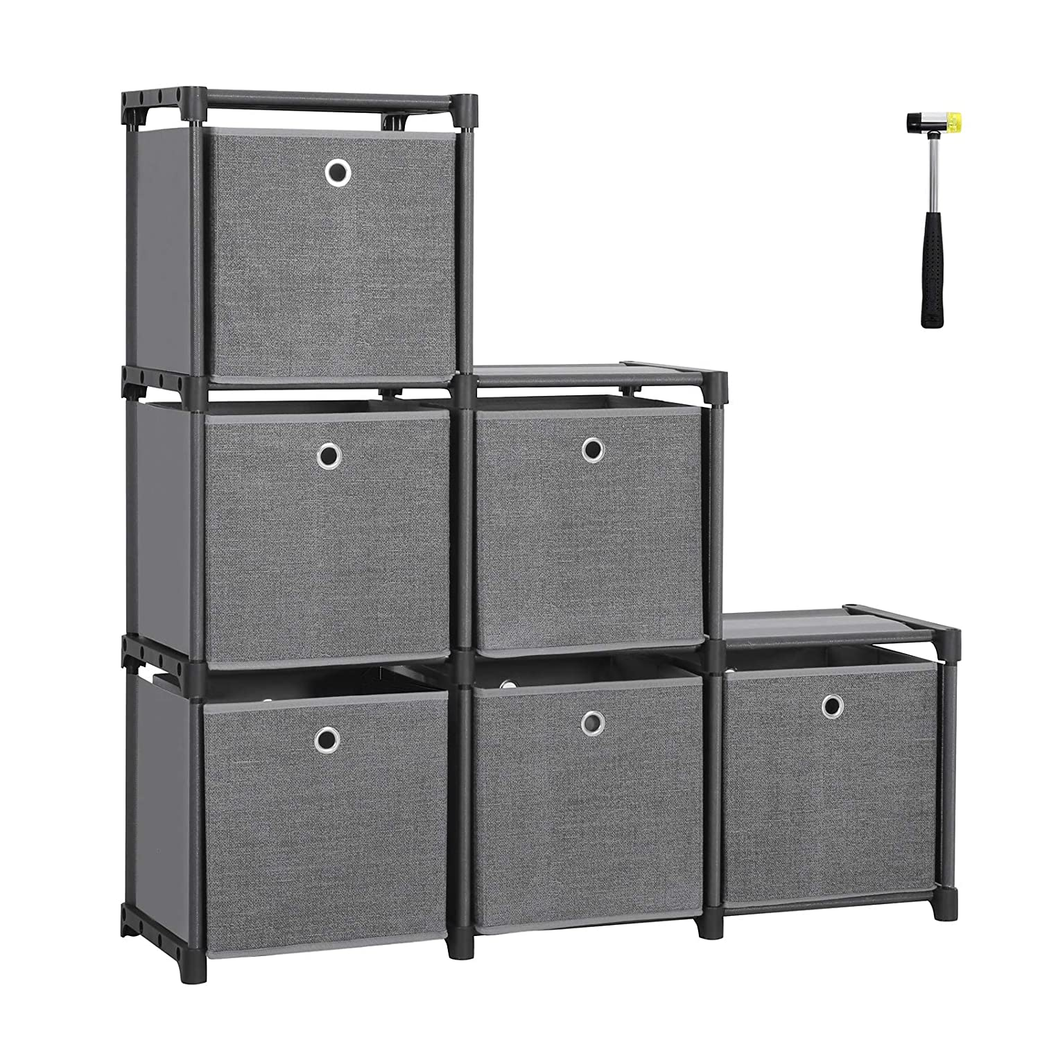 SONGMICS Ladder Storage Unit 6 Cubes with 6 Storage Boxes DIY Closet Organiser Multifunctional with Modular Sturdy Metal Frame Includes Rubber Mallet 105 x 30 x 105 cm (W x D x H) Black LSN66BK