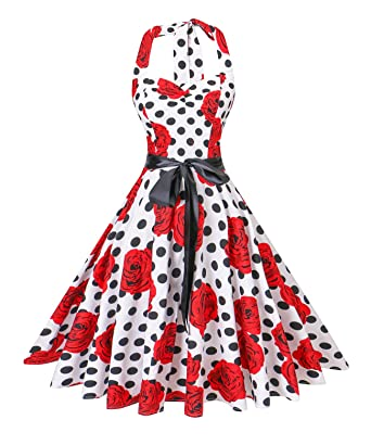 ee3226c1f13 V Fashion Women s Vintage 1950s Halter Neck Polka Dot Audrey Hepburn Dress  50s Retro Swing Dresses