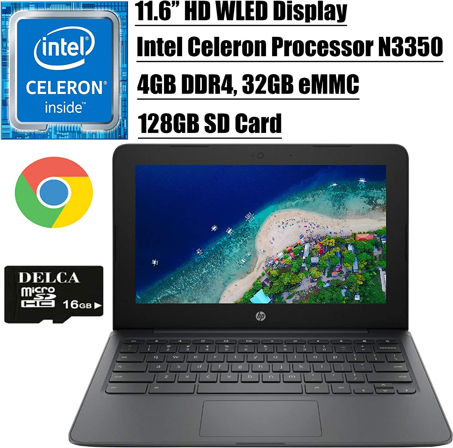"HP Chromebook 11 2020 Flagship Laptop Computer I 11.6"" HD WLED Display I Intel Celeron Processor N3350 I 4GB DDR4 32GB eMMC + 128GB SD Card I Webcam WiFi Type C Chrome OS + Delca 16GB Micro SD Card"