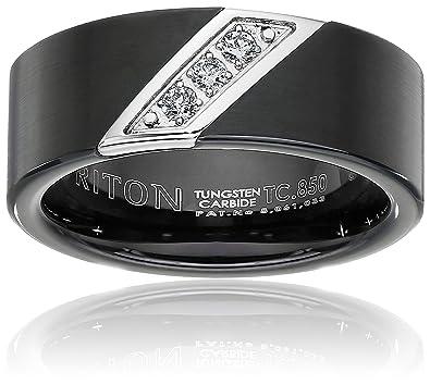 Triton Mens Black Tungsten 8mm ThreeDiamond Wedding Band 110cttw