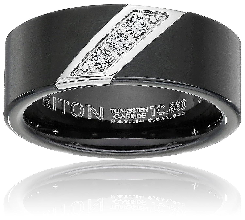 Triton Men s Black Tungsten 8mm Three Diamond Wedding Band 1