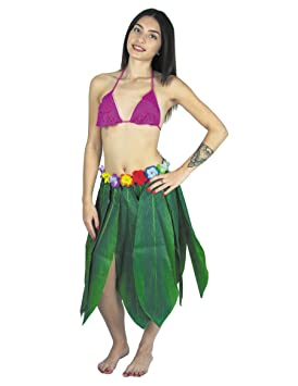 partypro Falda larga hawaiana hojas verdes adulto: Amazon.es ...