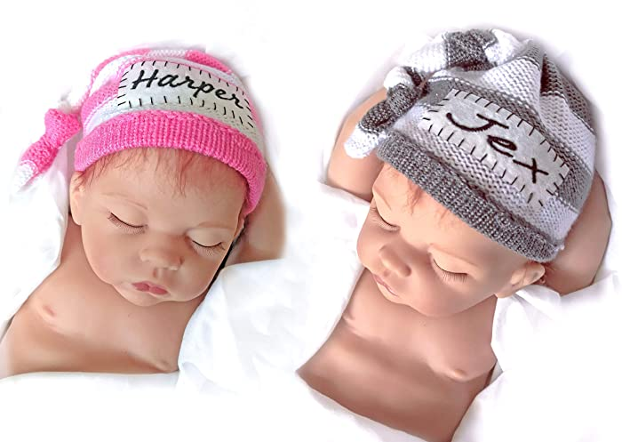 2cf3fd15b5d48 Image Unavailable. Image not available for. Color  Newborn baby hats  Personalized ...