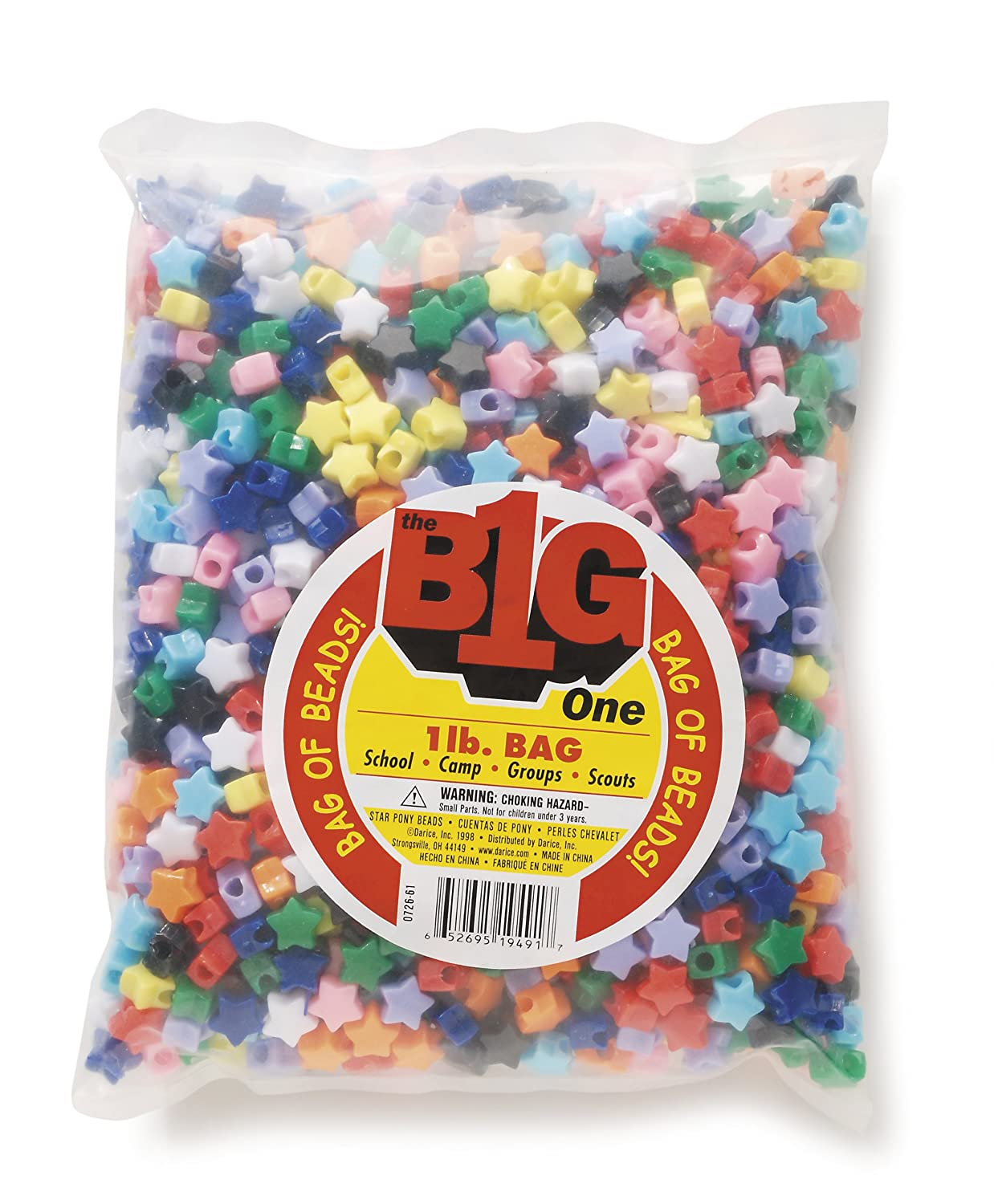 Hair Beading Great Craft Projects for All Ages Round Plastic Bead With Center Hole Key Chains 9mm Diameter Darice Assorted Glow in the Dark Multi-Color Pony Beads Bead Jewelry 1 lb Ornaments Bag