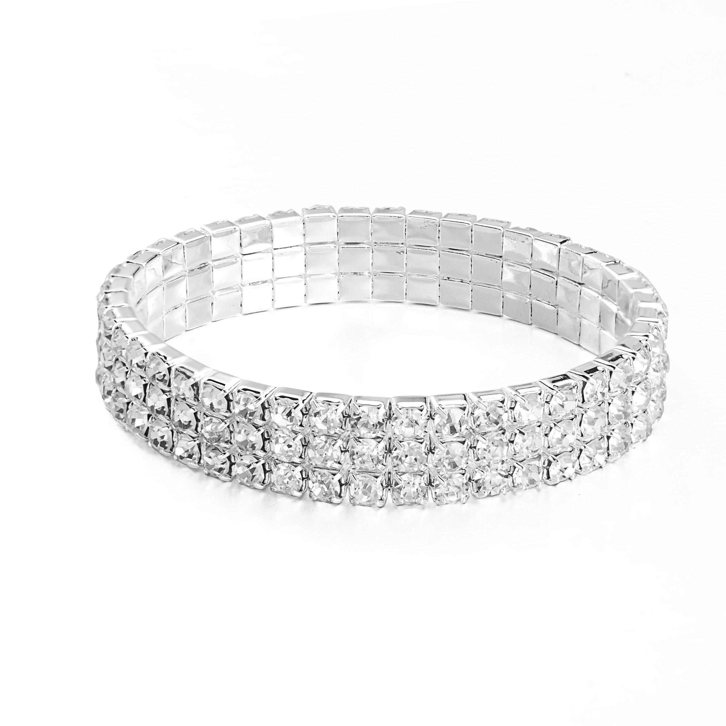 JEWMAY Yumei Jewelry 3-Strand Rhinestone Stretch Bracelet Silver-tone Wedding Tennis Bracelet Sparkling Bridal Bangle Ankelt,6.5'' - 8''