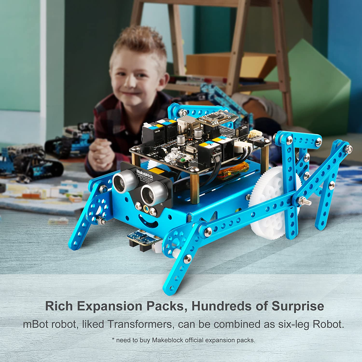 Makeblock Mbot Bluetooth Version Programmable Robot Kit For Kids To Inventor Add On Six Legged Learn Coding Robotics And Electronics Blue Computers Accessories
