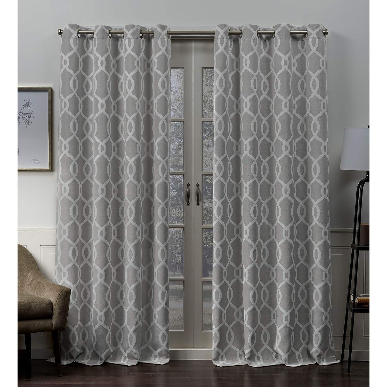 Exclusive Home Curtains Trilogi Geometric Woven Blackout Grommet Top Curtain Panel Pair 52x84 Rose Blush