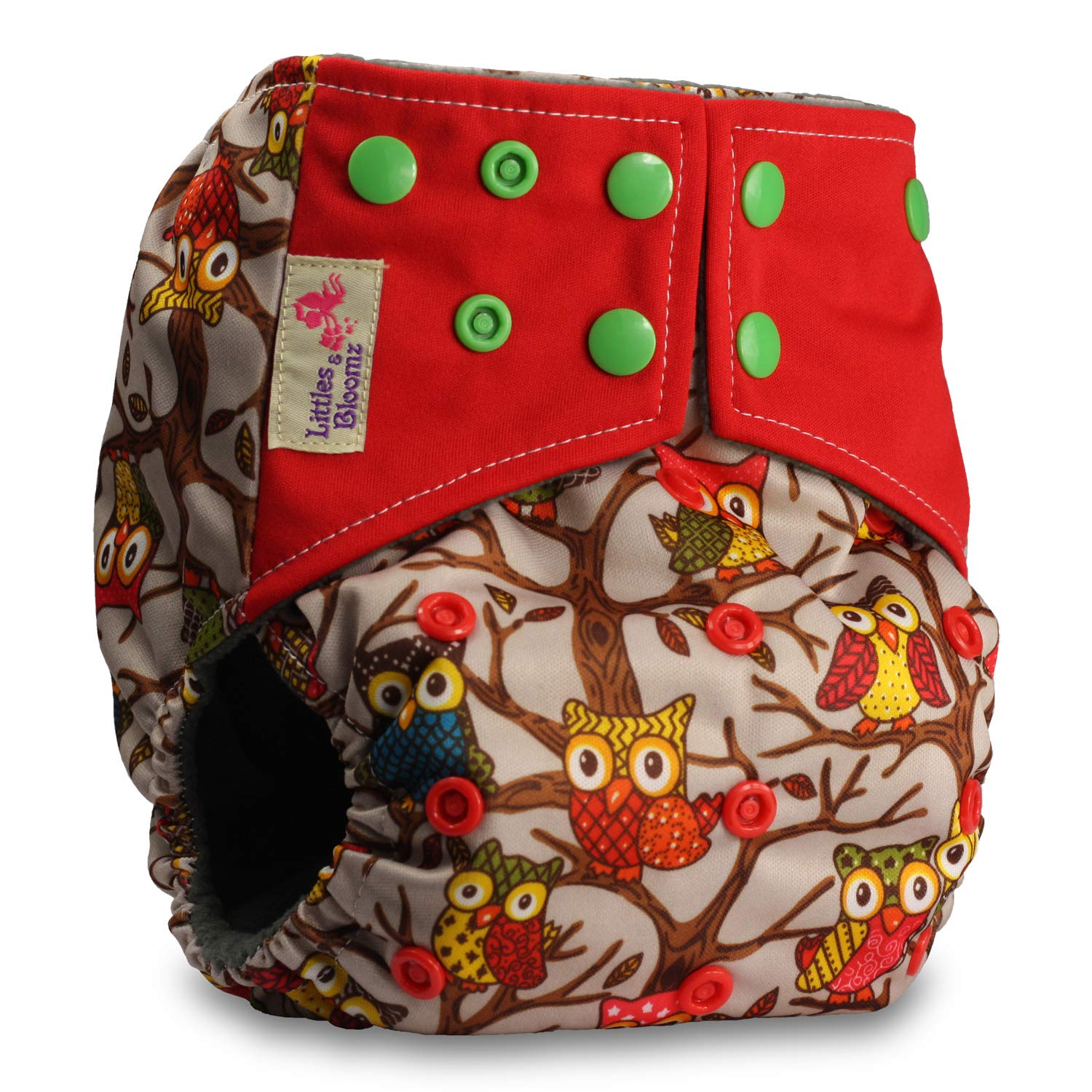 Set of 1 Fastener: Hook-Loop with 2 Bamboo Charcoal Inserts Littles /& Bloomz Pattern 33 Reusable Pocket Cloth Nappy