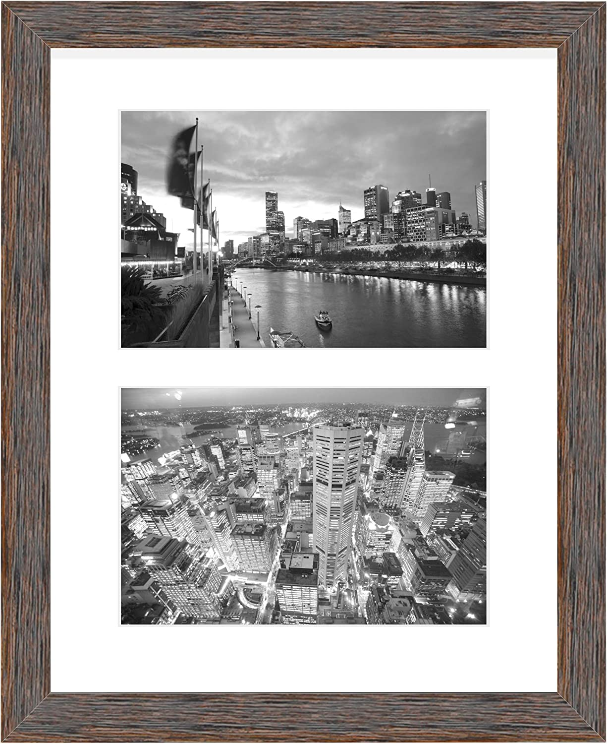 Golden State Art, 8x10 Distressed Brown Collage Picture Frame - White Mat for (2) 4x6 Pictures - Wood Molding - Easel Stand for Tabletop - D-Rings for Wall Display - Great for Homes, Offices, Events