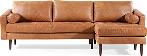 POLY-&-BARK-Napa-Right-Sectional-Modern-Leather-Sofa-in-Cognac-Tan