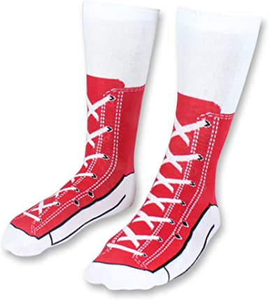 Sic Sox Red Sneaker Print Novelty Socks