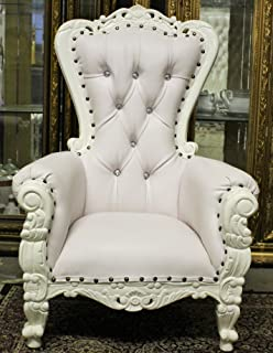 MINI Baroque Carved Tiffany Party Throne Chair For Children   Crystal Bling    Solid Mahogany