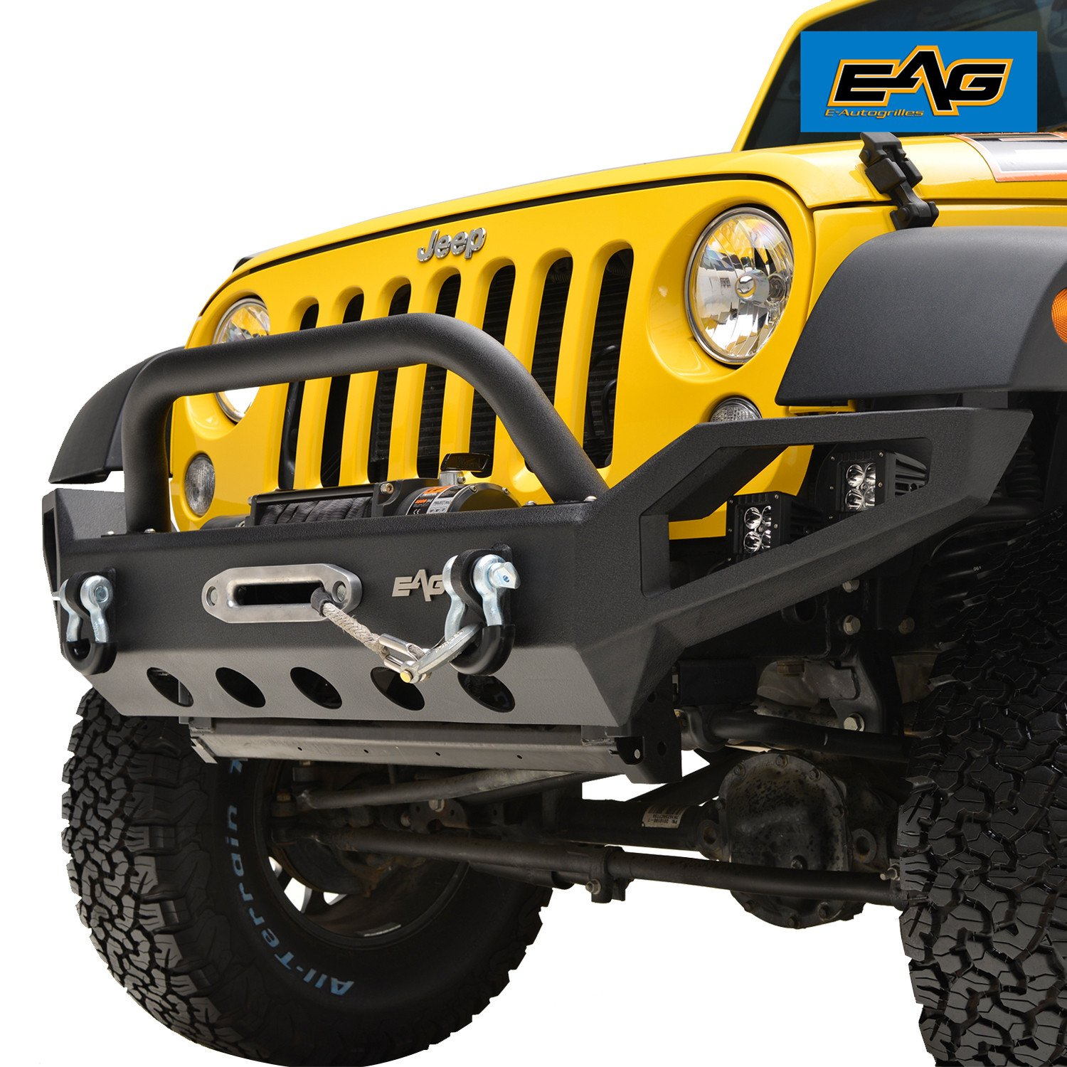 Amazon.com: EAG Full Width Front Bumper With 4x LED Lights for 07-17 Jeep  Wrangler JK: Automotive