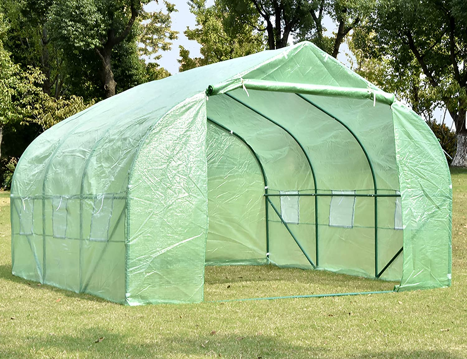 NSdirect Green House 12 x10 x7 ,Heavy Duty Walk in Outdoor Plant Gardening Greenhouse Portable Plant Hot House with Double Zipper,Green