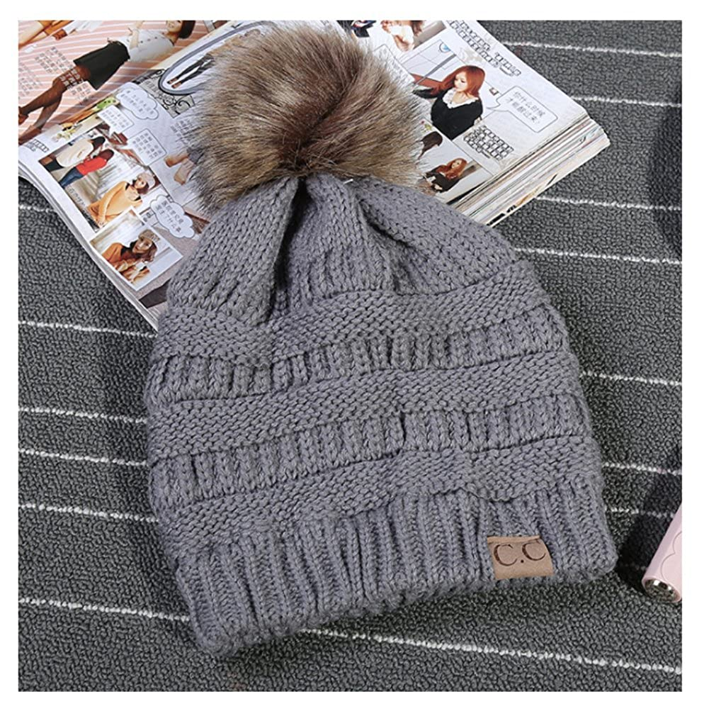 C.C Thick Cable Knit Faux Fuzzy Fur Pom Fleece Lined Skull Cap Cuff Beanie (#Grey)