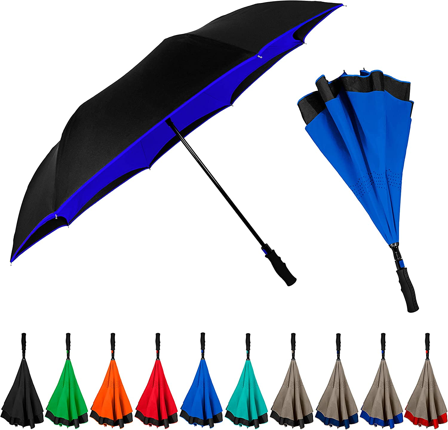 Double Layer Inverted Inverted Umbrella Is Light And Sturdy Pattern Slices Cheese On Blue Reverse Umbrella And Windproof Umbrella Edge Night Reflecti
