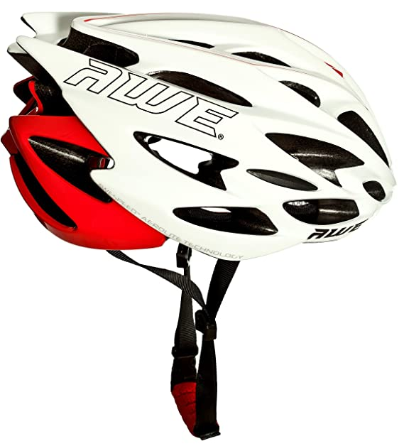 Amazon.com : AWE® AWESpeedTM In Mould Adult Road Racing Cycling Helmet 58-61cm White/Red : Sports & Outdoors