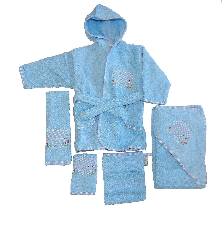 Baby Frottee Set Elefant blau Kapuzenhandtuch Bademantel 5-TLG. 100% Baumwolle Fuchs seit 1895