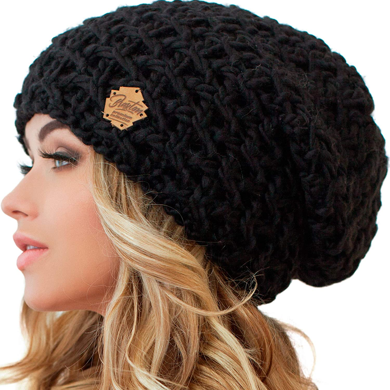 Fur pom hat Crochet slouch Chunky beanie Winter hat Crochet beanie Womens hat Gift for her Gray beanie Toboggan hat Ladies beanie