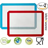 Silicone Baking Mat, Non-Stick Cooking Mat - 2 Pack (red+blue) 11.5X16.5…
