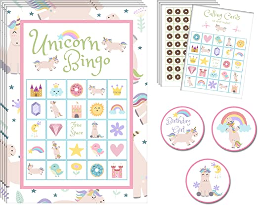 MISS FANTASY Unicorn Bingo Games Magical Party Games for Kids Birthday Party for