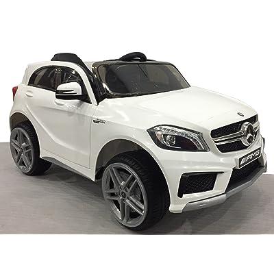 Véhicule électrique Mercedes-Benz A45 AMG, Blanc, Licence originale, À propulsion par batterie, Portes d'ouverture, Siège en cuir, 2x Moteur, Batterie 12 V, Télécommande 2.4 Ghz, Roue