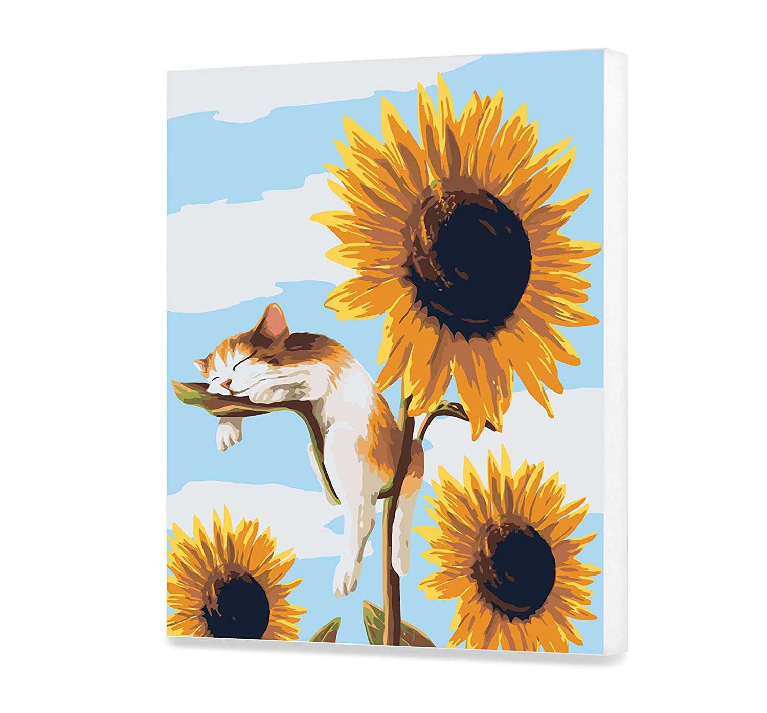 Sleeping Cat Home Decor DIY Adult Summer Dream Painting by Numbers Sunflowers Picture Divided by Numbers Veronica Minozzi Kit for Adult with Unique Design Perfect Gift