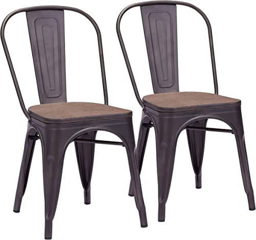 Elio Dining Chair Set of 2 Rustic Black Brown
