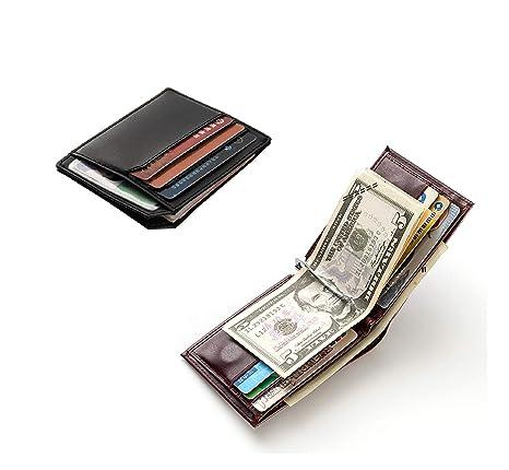 rivenditore online 64490 a4af0 Portafoglio magnetico e porta carte di credito in vera pelle - Porta  sottile 12 carte RFID Porta carte di credito per donne e uomini -  Portafoglio ...