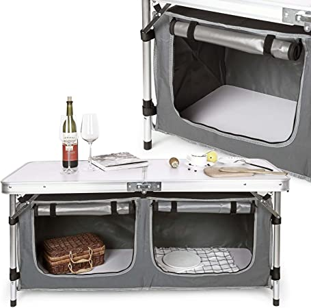 WilTec Armario Camping Cocina Camping Plegable Portátil Vacaciones Accesorios Outdoor Acampada Exterior