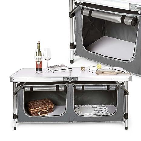 Wiltec Mobile Mobiletto Cucina da Campeggio Pieghevole: Amazon.it ...